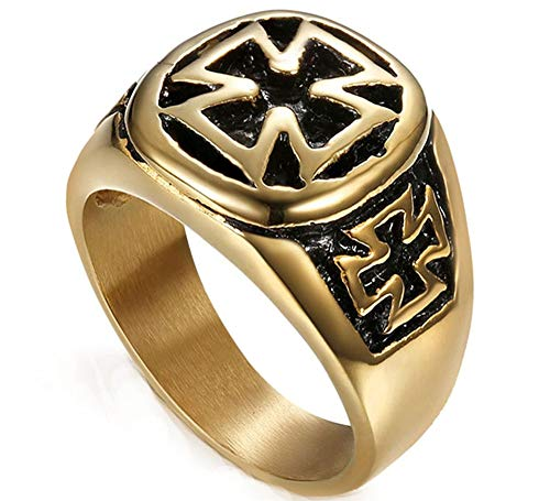 Man's Fashion Punk Four-Leaf Clover Black Oil Stainless Steel Rings Gold Plated,Size 13 ()