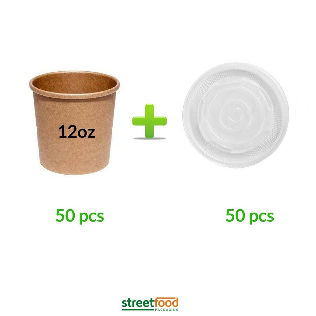 Recipiente para sopa, Envase carton kraft para alimentos y comida ...