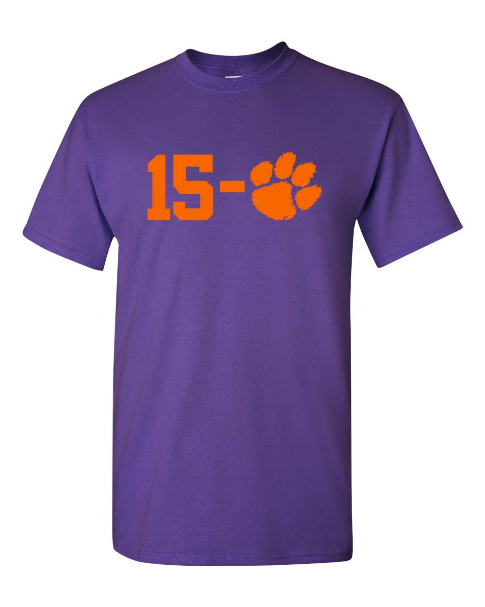 Clemson 15 0 National Champions Heavy T Shirt Shirt Purple W Orange 6573