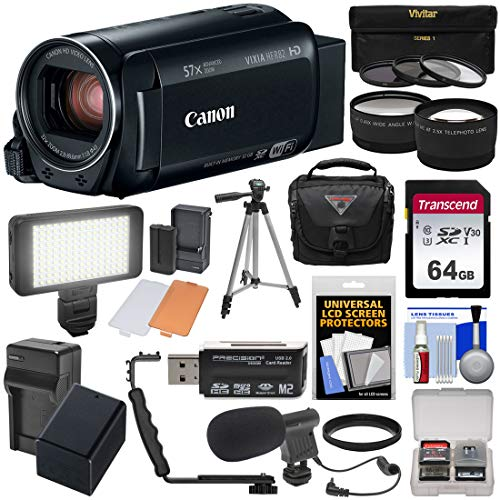 Canon Vixia HF R82 32GB Wi-Fi 1080p HD Video Camera Camcorder + 64GB Card + Battery & Charger + Case + Tripod + 3 Filters + LED + Mic + 2 Lens Kit