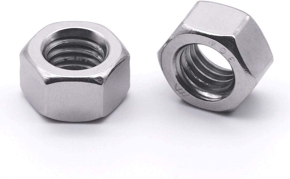 10# 24 Finished Hex Nuts Bright Finish,304 Stainless Steel 18-8 100 PCS by Eastlo Fastener