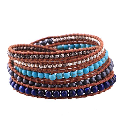 - C·QUAN CHI Womens Leather Wrap Bracelet Charm Multi-Strand Rope Braided Friendship Bracelets Casual Cuff Bangle Handmade Jewelry for Teens Girls, Mother, Wife, Ladies Gift