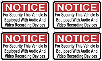 2.5in x 1.5in Red Notice Audio and Video Recording Stickers