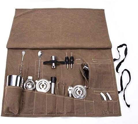 Barkeder-Werkzeugtasche, tragbare Tasche für Zuhause, Bar-Rolltasche, Cocktail-Set, Aufbewahrungstasche für Reisen oder Arbeitsplatz GJB135