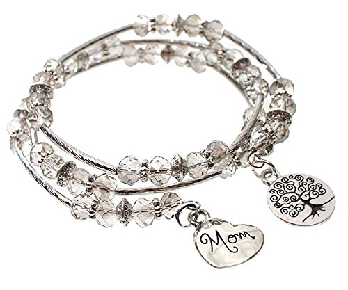 MOM Heart and Tree of Life Charm Sparkling Faceted Glass Bead Triple Wrap Silvertone Bangle Bracelet