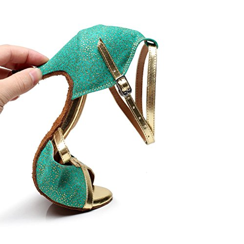 BCLN Womens Open toe Sandals Latin Salsa Tango Heels Practice Ballroom Dance Shoes with 2.75 Heel Green AUDfJpnh1