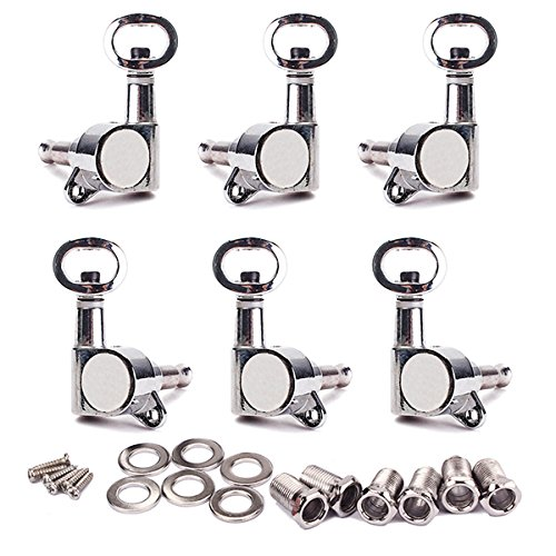 WINOMO Chrome Guitar Tuning Pegs Tuners Machine Piercing Heads for Electric Guitar 3L 3R Pack of 6
