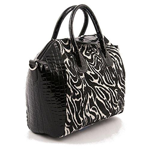 Borsa a mano, Jodi bianco e nero, in tessuto, Made in Italy, dimensioni in cm: 34 L x 29 H x 15 p