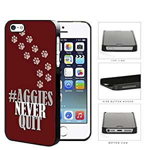 Hashtag Aggies Never Quit School Spirit Slogan Chant iPhone 5 5s Hard Snap on Plastic Cell Phone Cover