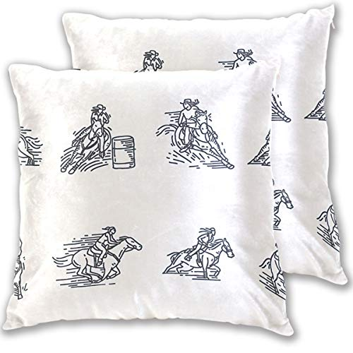 Barrel Racing Throw Pillow Cover, Cotton Square Home Decor Pillowcases for Sofa Bedroom Car, Set of 2 (18''x18'')