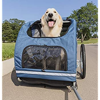 Image of Pet Supplies PetSafe Solvit HoundAbout Pet Bicycle Trailer For Dogs and Cats, Steel Frame, Medium and Large