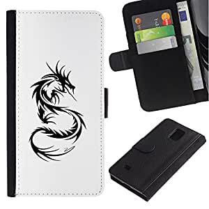iBinBang / Flip Funda de Cuero Case Cover - Decal Black White Monster Tattoo - Samsung Galaxy Note 4 SM-N910