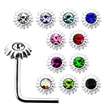 20 Pieces Box Set of Jeweled Sunflower Top Sterling Silver L Bend Nose Stud Jewelry