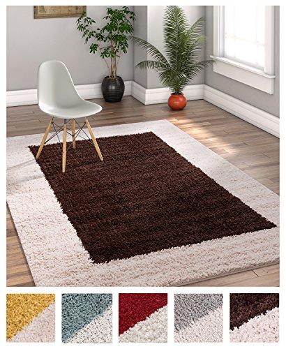 (Porta Border Modern Geometric Shag 5x7 (5' x 7'2'') Area Rug Brown Beige Plush Easy Care Thick Soft Plush Living Room)