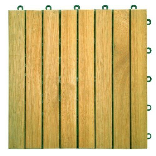 (Vifah V355 Tile Snapping Deck Tiles Plantation Teak Slat Deck Tile Hardwood 8 Slat - Box of 10 Tiles)