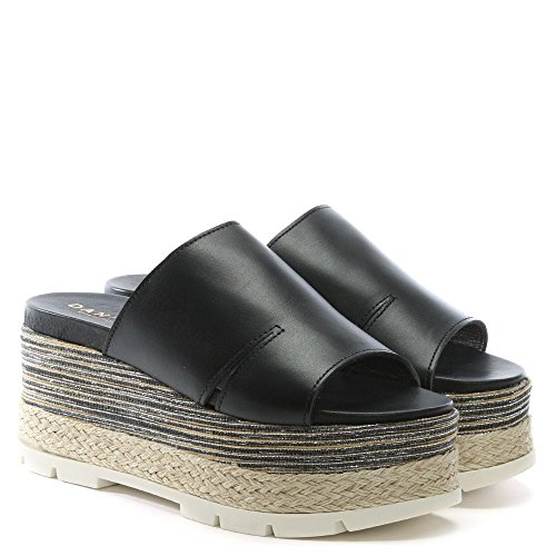 Daniel Black Leather Andros Flatform Mules Black Leather Espadrille Z6BZwq
