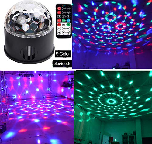 Bluetooth +Speaker Party Light Disco Lights 9 Colors 9W Magic Ball Projector Stage Lights Strobe Club lights Effect Mini LED Lights Wireless Phone Connection with Remote Connection for Decoration]()