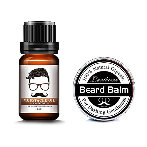 Beard Care Kit for Men Beard Balm, Beard Oil Leave-in Conditioner Natural Organic Oils and Butter Wax Mustache Styling, Shaping, Grooming & Growth for Gentlemen (Oil+Balm)