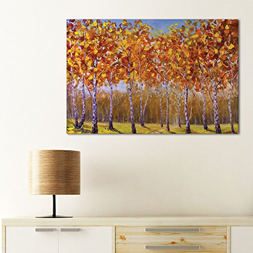 Abstract Trees with Yellow Leaves in Forest