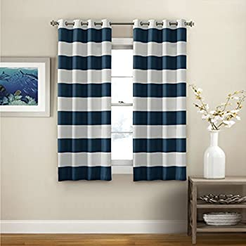 2 Pack Coastal Chic Rugby Striped Curtains Grommet Navy Curtain Panels For Living Room