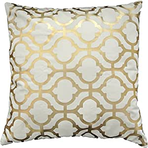 """Gold Foil Geometric Print Decorative Throw Pillow COVER 18"""" Gold"""