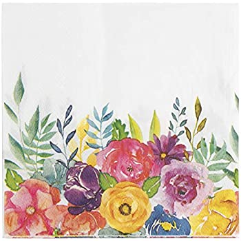 4 Lunch Paper Napkins for Decoupage Party Table Vintage Colorful Bunch of Flower