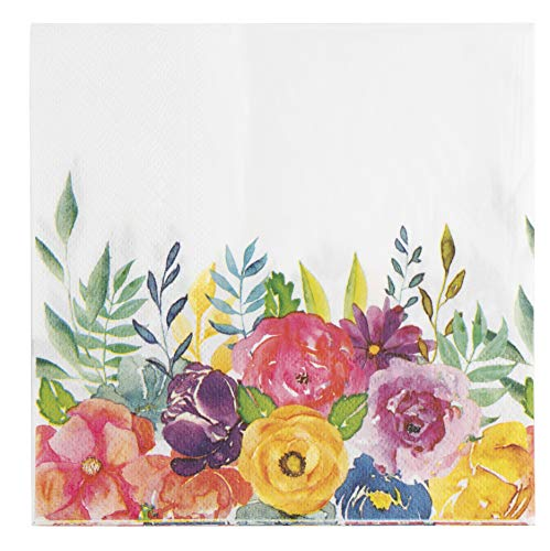 Floral Paper Napkins - 100-Pack Disposable Tea Party Napkins, Weddings, Bridal Shower Party Supplies, 2-Ply, Vintage Blooms, Flower Decoupage, Luncheon Size Folded 6.5 x 6.5 Inches