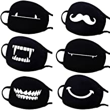 Personality Black Mouth Mask, 6 Pack Fashion Unisex Anti Dust Cotton Blend Face Mask for Men Women Cycling, Windproof, Anti Haze, Comfy and Breathable
