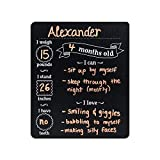 Custom Product Solutions Monthly Baby Stats and Milestones Months Old Reusable Plastic Chalkboard Gender Neutral Photo Prop Board for Use with Chalk and Chalk Markers, 10''x12'' Black