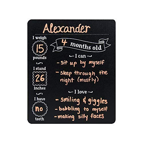 Custom Product Solutions Monthly Baby Stats and Milestones Months Old Reusable Plastic Chalkboard Gender Neutral Photo Prop Board for Use with Chalk and Chalk Markers, 10''x12'' Black by Canopy Street