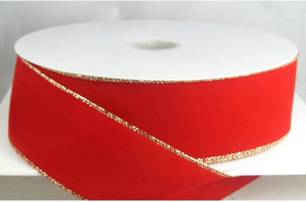 Wired Traditional Red with Gold Edges Velvet Christmas Ribbon 2 1//2 #40-50 Yards