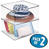 """mDesign Plastic Closet Organizer Clothing Storage Box with Lid for Shirts, Sweaters, Pants - Pack of 2, 7"""" High, Clear"""