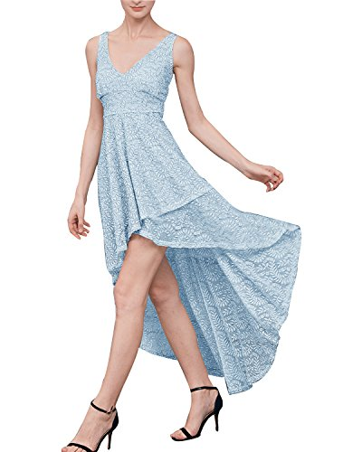Tempt Me V Neck Lace Dress Straps High-Low Wedding Bridesmaid Evening Prom Dress Blue Medium (Dress Stretch Lace)