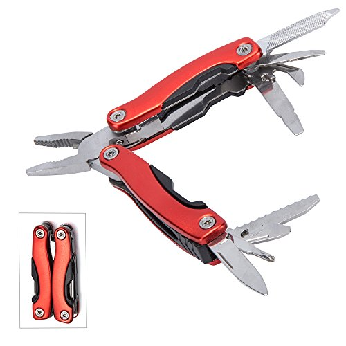 Multi Tool, Micro Pocket Multitool With Sheath, Knife, Pliers, Saw & Other Tools - Ideal for Home, Travel, Quick Car Fixes, Camping, Gardening, Survival, Fishing(Red)