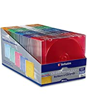 Verbatim CD/DVD Slim Jewel Assorted Color Cases - 50pk