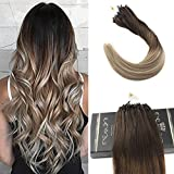Ugeat 22Inch Ombre Micro Loop Extensions Dark Brown Ombre Medium Brown Mix Bleach Blonde Brazilian Real Silky Straight Micro Link Celebrity Hair Extensions