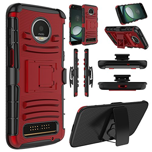 Moto Z3 Case, Moto Z3 Play Case, Elegant Choise Hybrid Heavy Duty Shockproof Combo Rugged Holster Protective Case with Kickstand and Swivel Belt Clip for Motorola Moto Z Play 3nd Gen 2018 (Red)