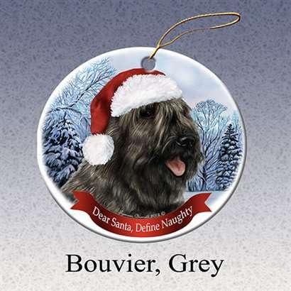 Holiday Pet Gifts Bouvier Grey Santa Hat Dog Porcelain Christmas Tree Ornament