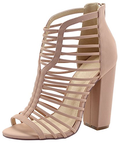 Cambridge Select Womens Open Toe Strappy Cutout Caged Chunky Block Heel Ankle Bootie Nude 9amYChIj