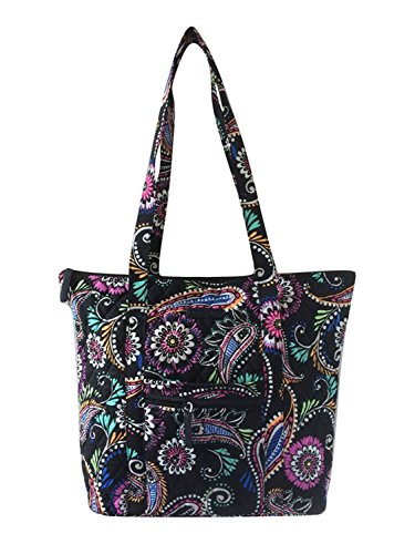 Vera Bradley Villager with Solid Interiors (Bandana Swirl with Black - Tote Vera Villager Bradley