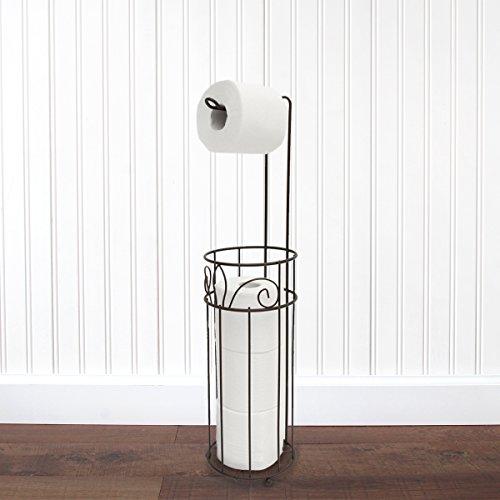 standing Toilet Paper Holder in Oil Rubbed Bronze - Fleur De Lis ()
