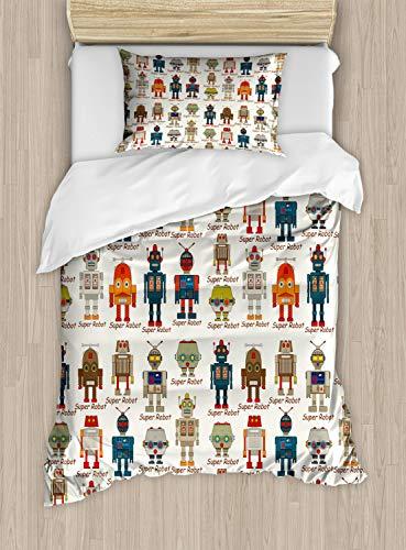 Ambesonne Robot Duvet Cover Set, Various Different Super Robot Set in Cartoon Style Fantasy Futuristic Machine, Decorative 2 Piece Bedding Set with 1 Pillow Sham, Twin Size, Dim Cream (Robot Duvet Cover Twin)