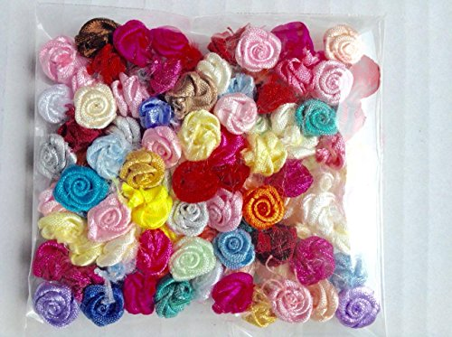 Small Satin Mini Roses Tiny Ribbon Flowers Assorted for Crafts Appliqué Sewing 1 cm - 100 pack