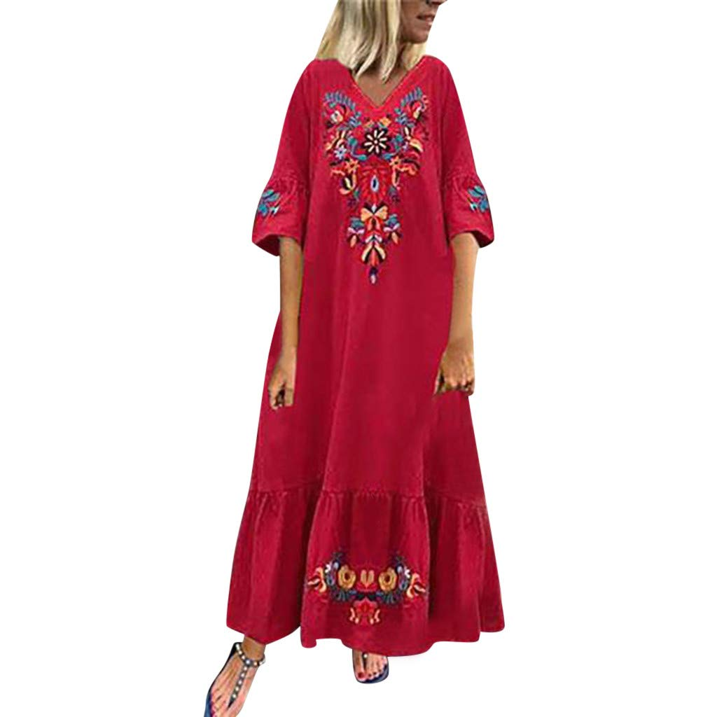 Benficial Women Casual Boho Floral Embroidery V-Neck Ruffled Linen Maxi Kaftan Dresse 2019 Summer Red by Benficial