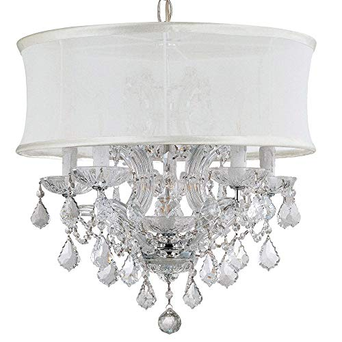 Crystorama 4415-CH-SMW-CLS Crystal Accents Five Light Mini Chandeliers from Brentwood collection in Chrome, Pol. - Cls 6 Chandeliers Light