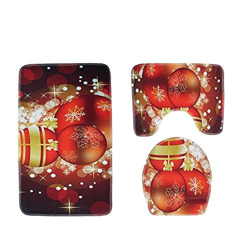 JPJ(TM) ❤Bathroom Carpet❤3pcs/Set Hot Fashion Christmas Suction Grip Bath Mat Bathroom Kitchen Carpet Doormats Decor (B) by JPJ(TM) _Christmas products