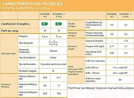 Cointra Supreme 11E PLUS n - Calentador (Butano, Encendido electrónico a red eléctrica, 11 L/min): 276.46: Amazon.es: Bricolaje y herramientas