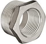 Merit Brass Stainless Steel 304 Cast Pipe Fitting, Hex Bushing, MSS SP-114, 1-1/4'' National Pipe Taper Thread Male (Pack of 25)