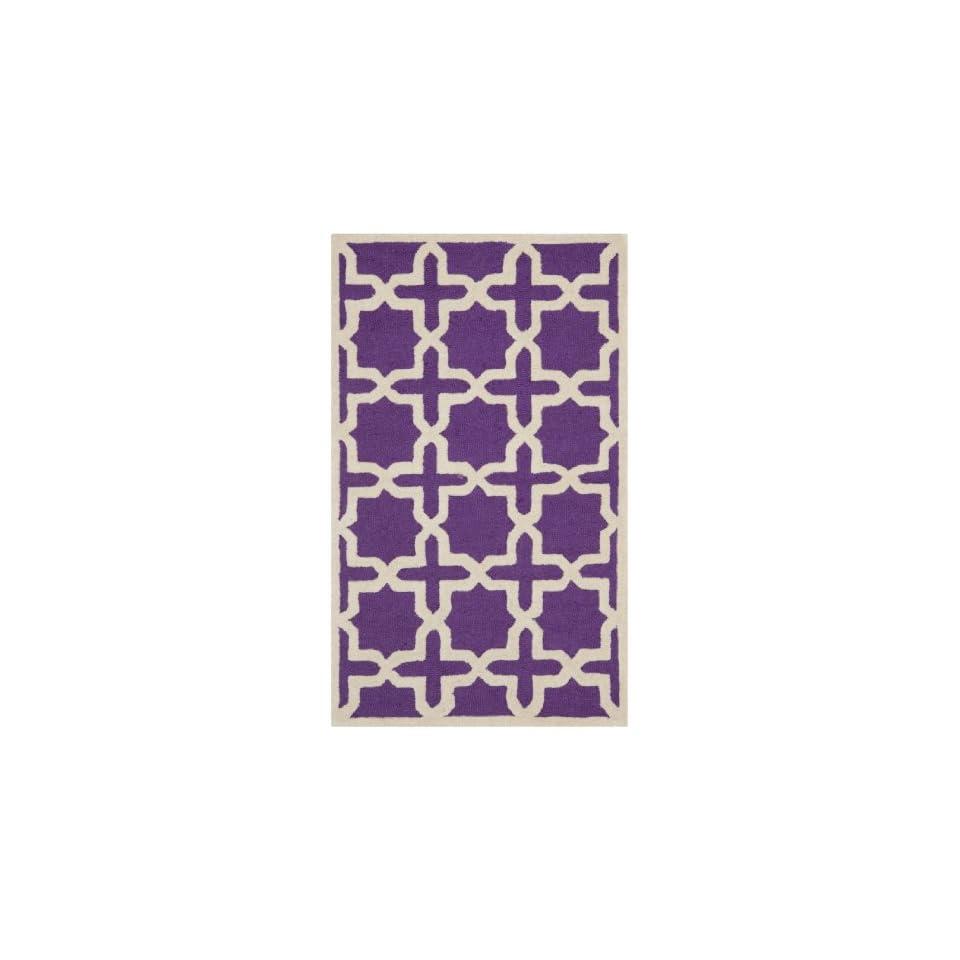 Safavieh Cambridge Collection CAM125K Handmade Moroccan Geometric Purple and Ivory Premium Wool Area Rug (2 x 3)