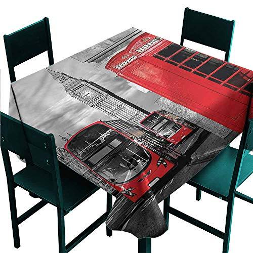 DONEECKL Restaurant Tablecloth London London Retro Phone Booth Picnic W63 xL63 ()